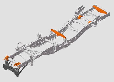 Zalomená konstrukce rámu s trubkovými příčníky tvoří základ schopnosti velkého zkrutu.